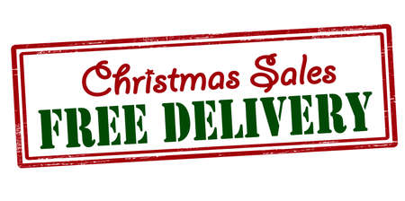 take charge: Stamp with text Christmas sales free delivery inside, vector illustration
