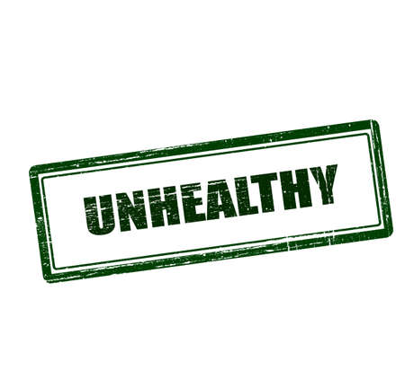 unwholesome: Stamp with word unhealthy inside, vector illustration