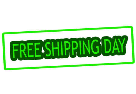 haulage: Stamp with text free shipping day inside, vector illustration Illustration