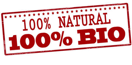 one of a kind: Stamp with text one hundred percent natural and bio inside, vector illustration