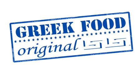 edibles: Stamp with text Greek food original inside, vector illustration