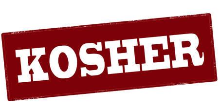 Stamp with word kosher inside, vector illustration
