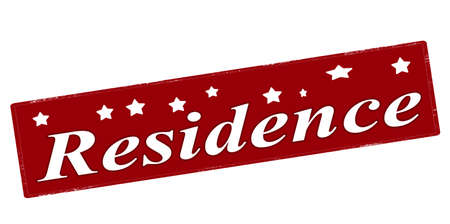 residency: Stamp with word residence inside, vector illustration