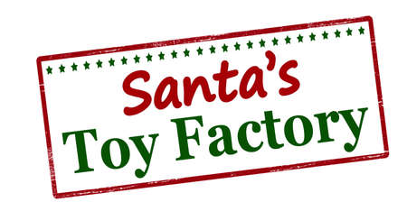 gewgaw: Stamp with text Santa toy factory inside, vector illustration