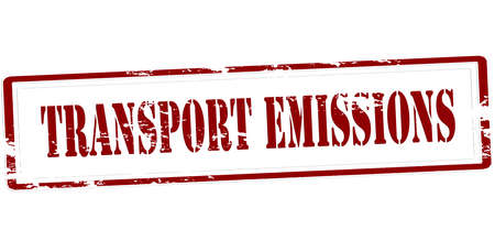 effusion: Stamp with text transport emissions inside, vector illustration