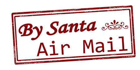 resemblance: Stamp with text by Santa air mail inside, vector illustration
