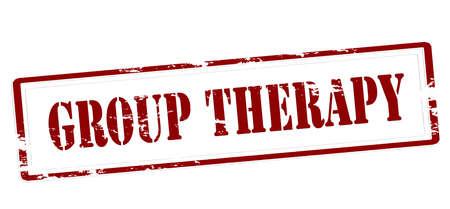 Zegel met binnen de therapie van de tekstgroep, vectorillustratie