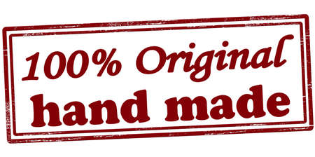 Stamp with text one hundred percent original hand made inside, vector illustration