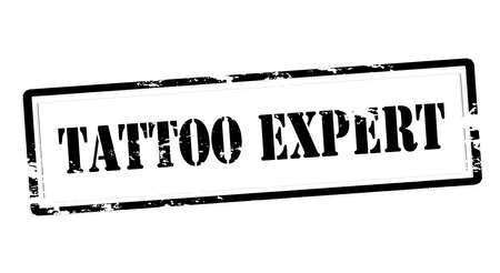 Stamp with text tattoo expert inside, vector illustration