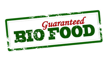 Stamp with text bio food guaranteed inside, vector illustration