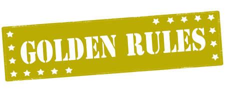 Sello con reglas de oro de texto dentro, ilustración vectorial