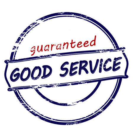 Rubber stamp with text guaranteed good service inside, vector illustration Çizim