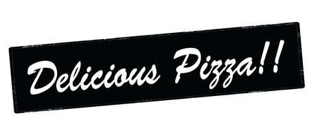 テキスト、ベクトル図の中おいしいピザとゴム印