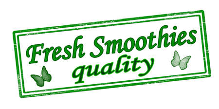 Rubber stamp with text fresh smoothies quality inside, vector illustration