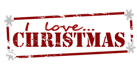 Rubber stamp with text i love Christmas inside, vector illustration