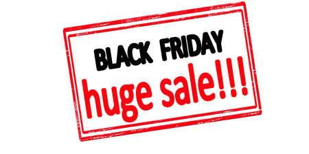 Rubber stamp with text black friday huge sale inside, vector illustration