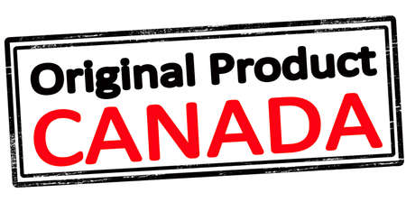 Rubber stamp with text original product Canada inside, vector illustration