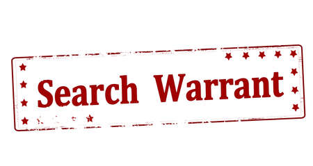 Rubber stamp with text search warrant inside, vector illustration