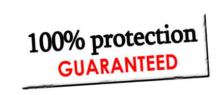 Rubber stamp with text one hundred percent protection guaranteed inside, vector illustration Illustration