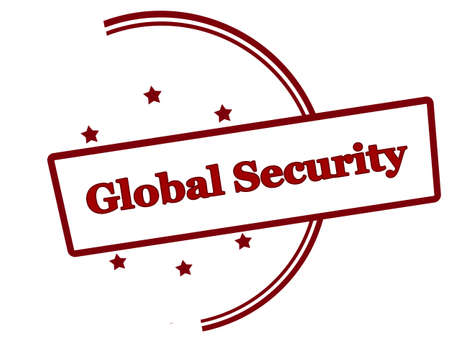 Rubber stamp with text global security inside, vector illustration