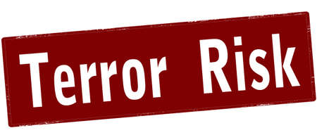 Rubber stamp with text terror risk inside, vector illustration