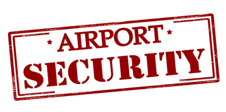Rubber stamp with text airport security inside, vector illustration