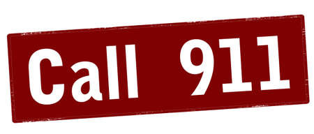 Rubber stamp with text call 911 inside, vector illustration