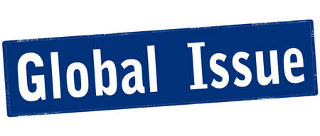 Rubber stamp with text global issue inside, vector illustration