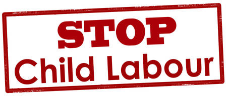 Rubber stamp with text stop child labour inside, vector illustration