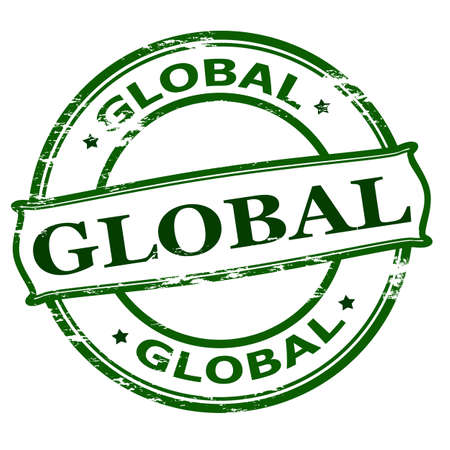 Rubber stamp with word global inside, vector illustration
