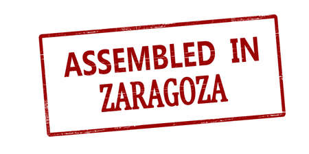 Rubber stamp with text assembled in Zaragoza inside, vector illustration