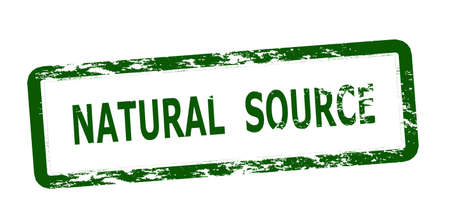Rubber stamp with text natural source inside, vector illustration