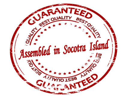 Rubber stamp with text assembled in Socotra Island inside, vector illustration