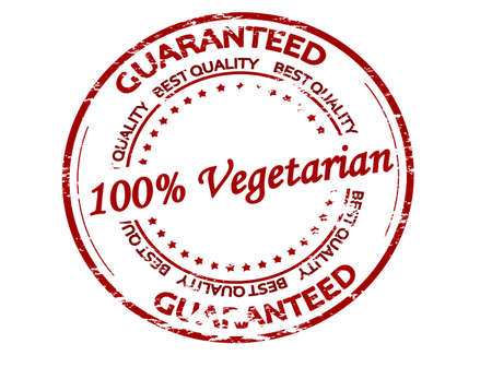 Rubber stamp with text one hundred percent vegetarian inside, vector illustration