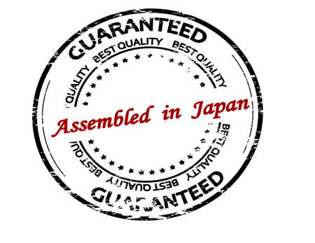 Rubber stamp with text assembled in Japan inside, vector illustration Ilustração