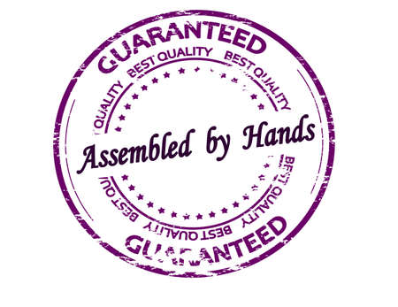 Rubber stamp with text Assembled by hands inside, vector illustration
