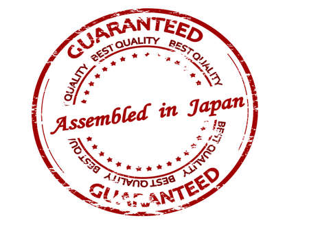 Rubber stamp with text assembled in Japan inside, vector illustration 矢量图像