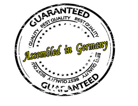 Rubber stamp with text assembled in Germany inside, vector illustration