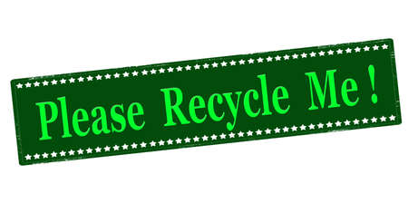 Rubber stamp with text please recycle me inside, vector illustration