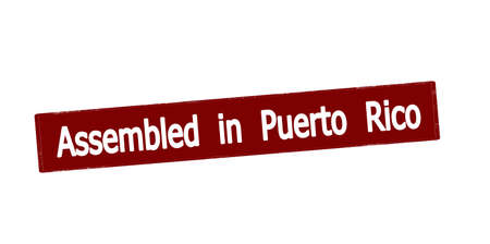 Rubber stamp with text assembled in Puerto Rico inside, vector illustration