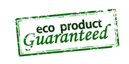 Rubber stamp with text eco product guaranteed inside, vector illustration