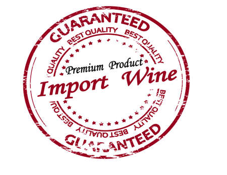 Rubber stamp with text import wine inside, vector illustration