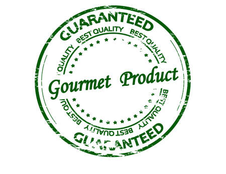 Rubber stamp with text gourmet product inside, vector illustration