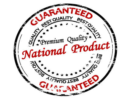 Rubber stamp with text national product inside, vector illustration 矢量图像