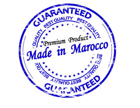 Rubber stamp with text made in Maroco inside, vector illustration