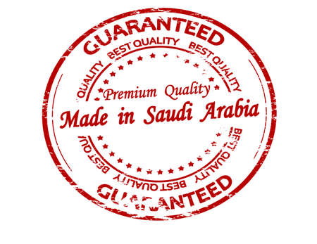 Rubber stamp with text made in Saudi Arabia inside, vector illustration