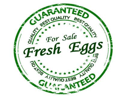 Rubber stamp with text fresh eggs inside, vector illustration 矢量图像