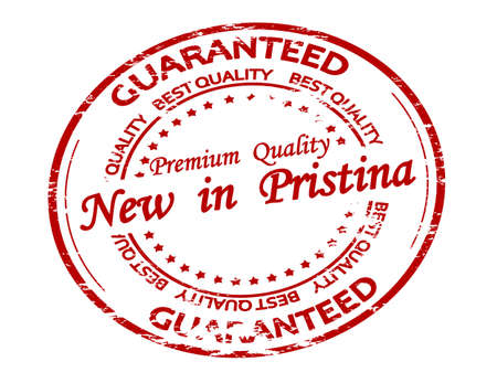 Rubber stamp with text new in Pristina inside, vector illustration 矢量图像