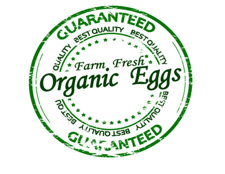 Rubber stamp with text organic eggs inside, vector illustration