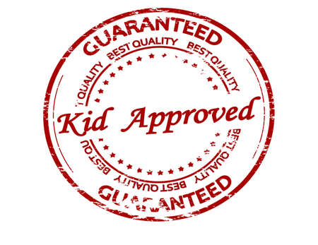 Rubber stamp with text kid approved inside, vector illustration